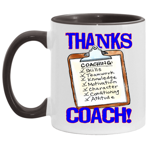 Thanks Coach! Play Strong Clipboard Accent Mug