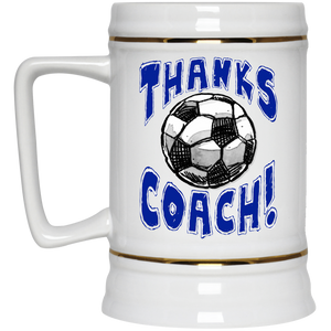Thanks Coach! Soccer Play Strong Gold Trim Beer Stein 22oz.