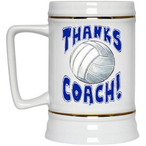 Thanks Coach! Volleyball Play Strong Beer Stein 22oz.
