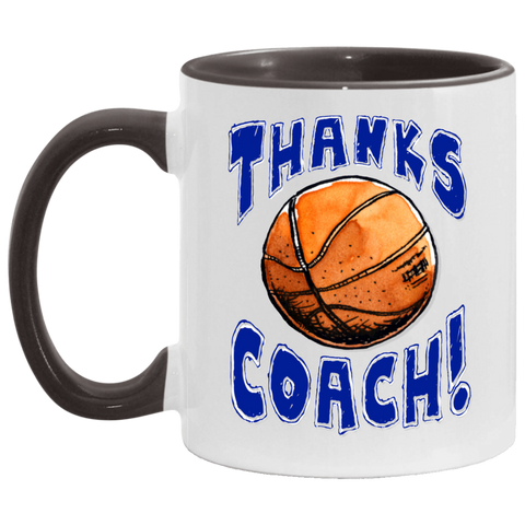 Image of Thanks Coach! Play Strong Basketball Accent Mug
