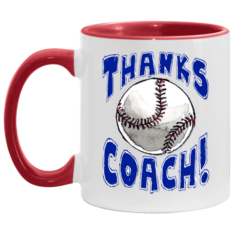 Thanks Coach! Play Strong Baseball Accent Mug