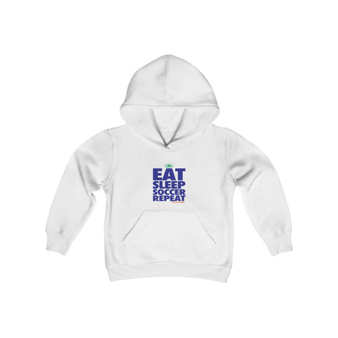 Image of EAT SLEEP SOCCER Repeat Youth Heavy Blend Hooded Sweatshirt