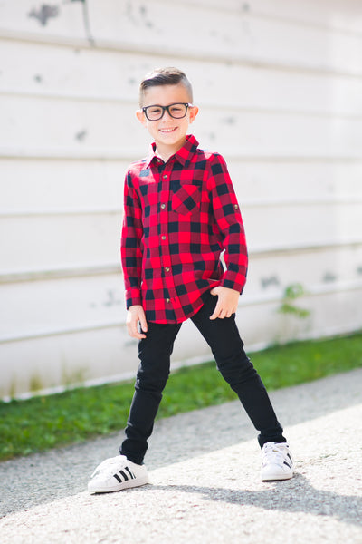 Boys buffalo check flannel shirt