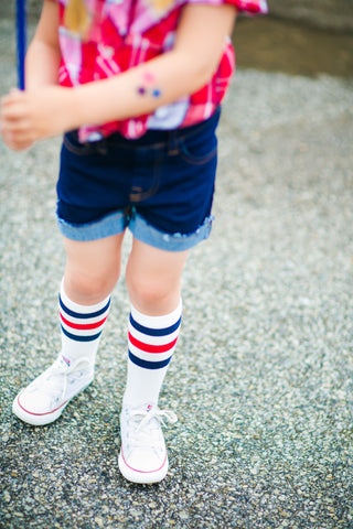Knee high striped socks red white blue kids