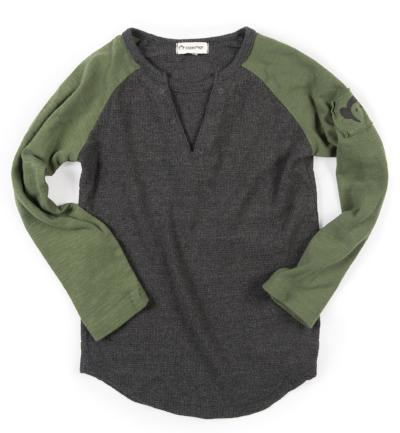 Appaman boys baseball tee in charcoal and olive