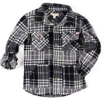 Appaman snow fleece plaid in charcoal