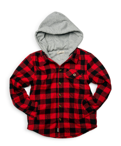 Appaman - Boys Glen Hooded Shirt Jacket in Buffalo Plaid (Size 4T)