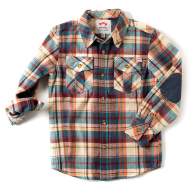 Appaman Boys Plaid Flannel Shirt - Orange Plaid