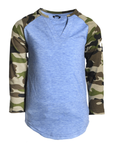 Appaman boys baseball tee blue and camo