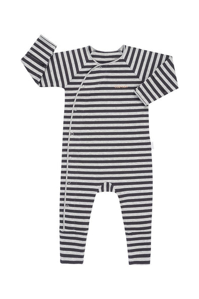 Bonds - Baby Snap Cozysuit Sleeper in Black and Grey Stripes (Size Newborn)