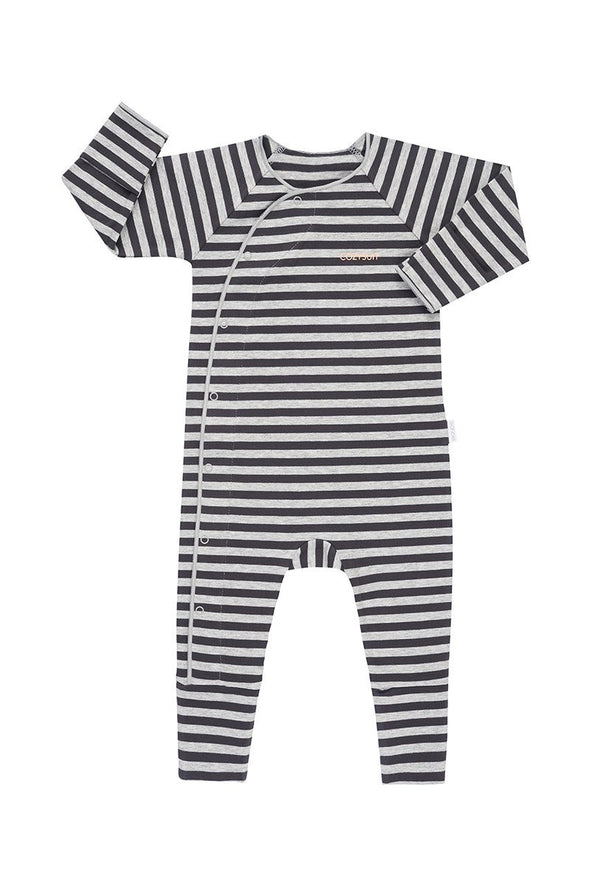 Bonds - Baby Snap Cozysuit Sleeper in Black and Grey Stripes