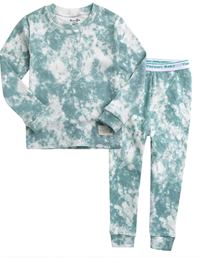 Kids Tie Dye Pajamas in Aqua