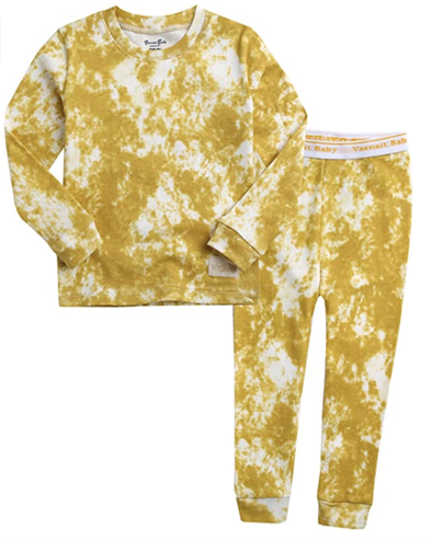 Kids Tie Dye Pajamas in Yellow