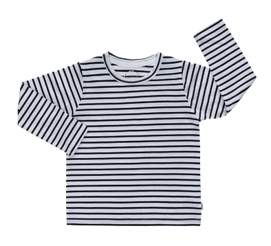 Bonds - Long-Sleeve Tee in Black and White Stripes
