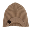 boys knit beanie with visor in tan camel