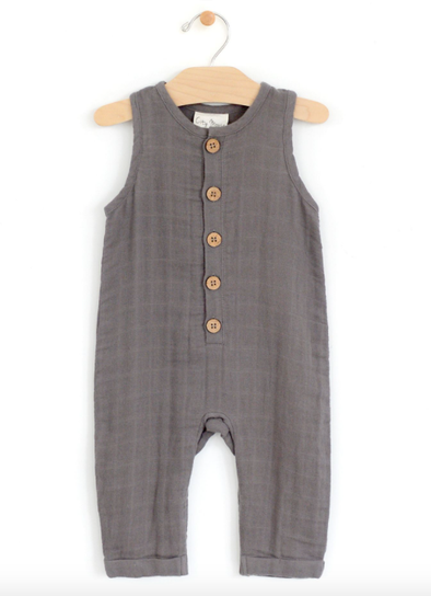 City Mouse - Muslin Tank Long Romper in Steel