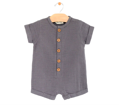 City Mouse baby muslin shorts romper grey