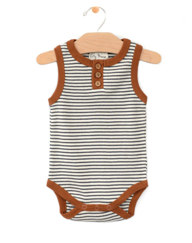City Mouse - Rib Henley Bodysuit in Stripe