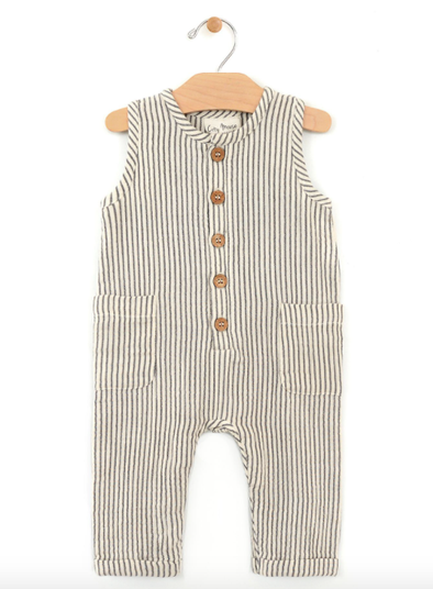 City Mouse - Woven Tank Long Romper in Stripe