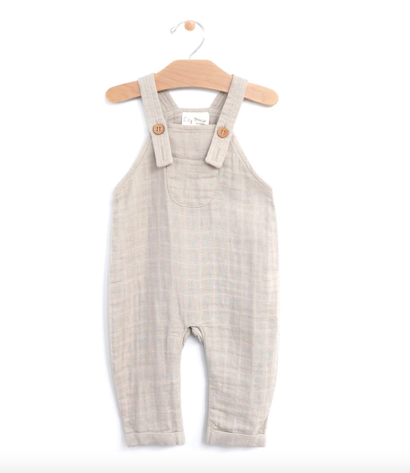 City Mouse baby muslin overalls grey