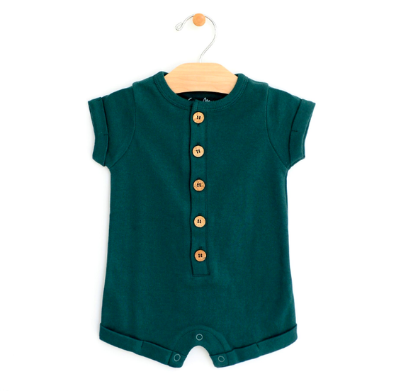 City Mouse baby shorts romper pine
