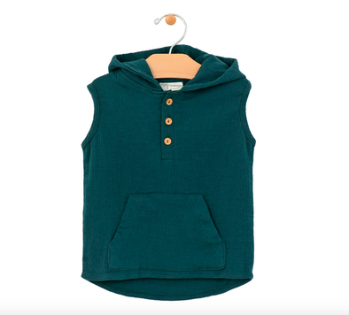 City Mouse crinkle cotton sleeveless hoodie
