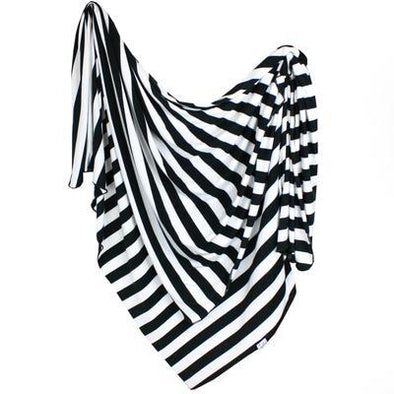 Copper Pearl Classic black and white striped baby blanket