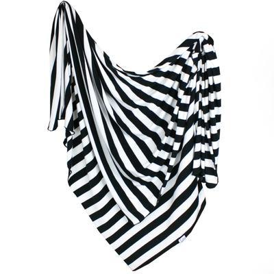 Copper Pearl Stretch-Knit Swaddle Blanket - Classic Black and White Stripes