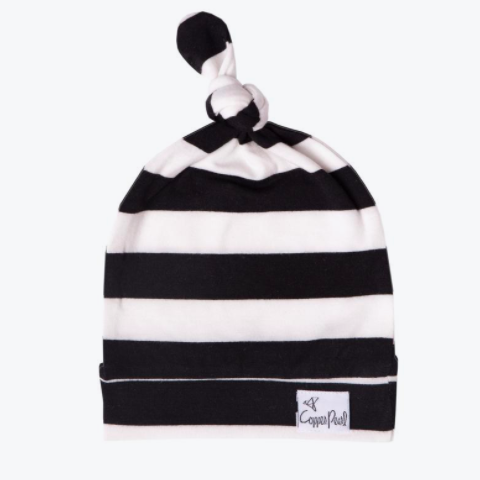 Copper Pearl Newborn Top Knot hat in black and white stripes