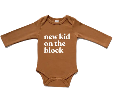 Gladfolk - New Kid on the Block Long Sleeve Onesie in Camel