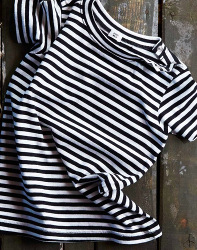 Goat-Milk Baby Tee in Black and White Stripes