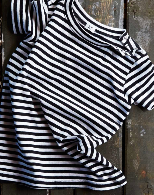 Goat-Milk Baby Tee in Black and White Stripes (Size 12mo)