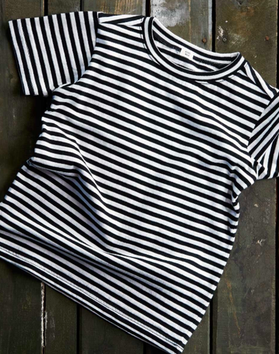 Goat-Milk Organic Toddler Tee in Black and White Stripes