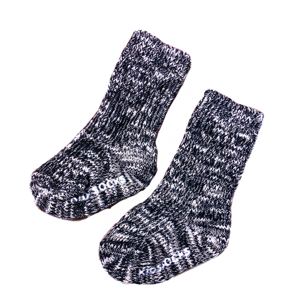 Baby/Toddler Marled Knit Crew Socks in Black and Cream