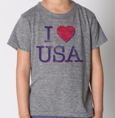 Kids I Heart USA Tee in Heather Grey