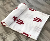 100% Organic Cotton Muslin Blanket in Red IU Indiana University Logo