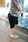 Boys black raw hem sweat shorts