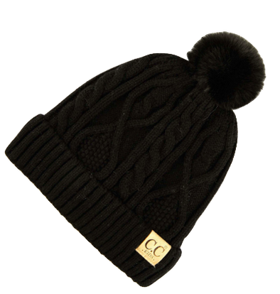 Kids CC beanie cable knit fur pom black