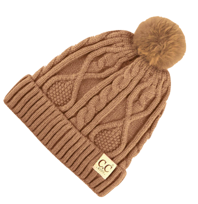 C.C. Beanie - Kids Cable Knit Fur Pom Beanie in Taupe