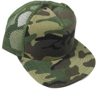 Kids green camo trucker hat