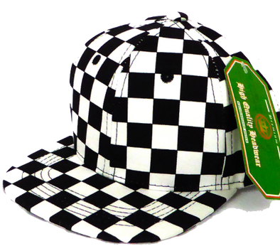 Baby and Children's SnapBack Hat in Black and White Checkers