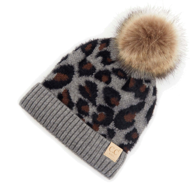 toddler leopard faur fur pom hat