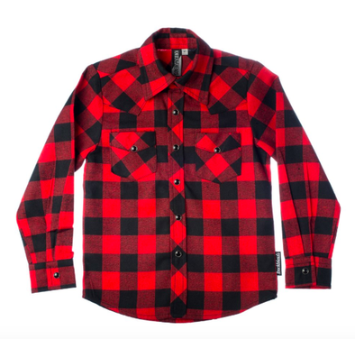 Knuckleheads -Buffalo Plaid Flannel in Red and Black (Size 12mo)
