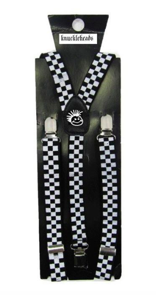 Knuckleheads - Elastic Suspenders in Black and White Checkers