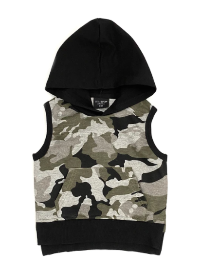 Little Bipsy sleeveless hoodie camo