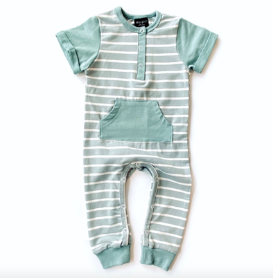 Little Bipsy stripes romper seafoam