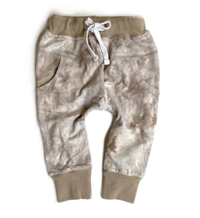 Little Bipsy taupe tie dye joggers
