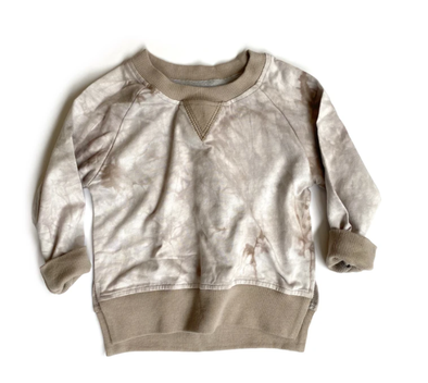 Little Bipsy taupe tie dye puillover