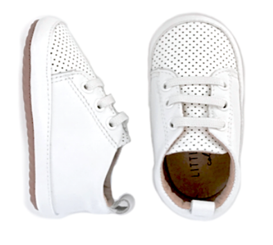 Little Bipsy - Leather Baby Sneaks in White (Size 4)