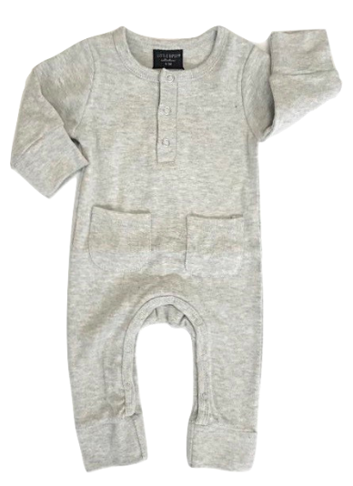 Little Bipsy - Baby Luxe Henley Romper in Light Heather Grey